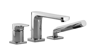 An image of Villeroy   Boch Soho 2.0 3TH Deck Mounted Chrome Bath Mixer Tap with Side Shower...