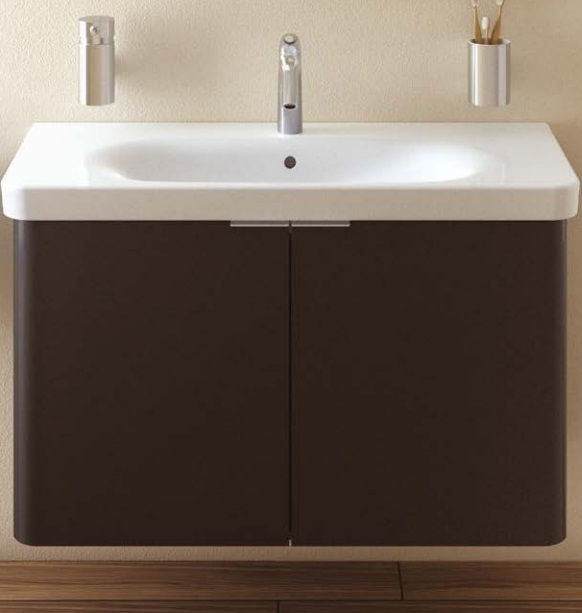 An image of Vitra Nest 600mm Wall Hung Double Door Anthracite Vanity Unit