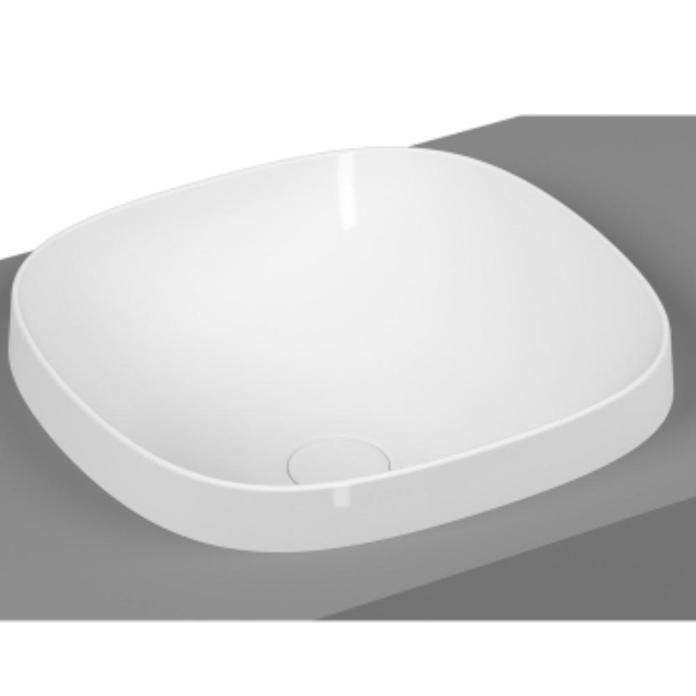 An image of Vitra Frame 410 X 390mm Square Inset Countertop Basin Matt White
