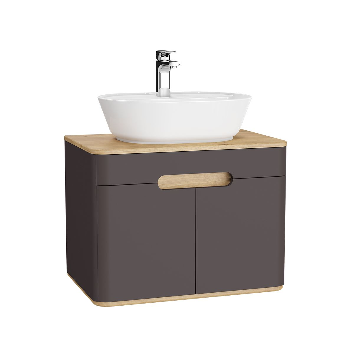 Vitra Sento 700mm Wall Hung Vanity Unit With Doors In Matte Anthracite