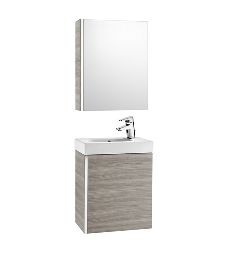 An image of Roca Mini Wall Hung Grey Cloakroom Vanity Unit With Mirror Cabinet