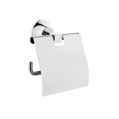 An image of Vitra Juno Chrome Toilet Roll Holder With Cover