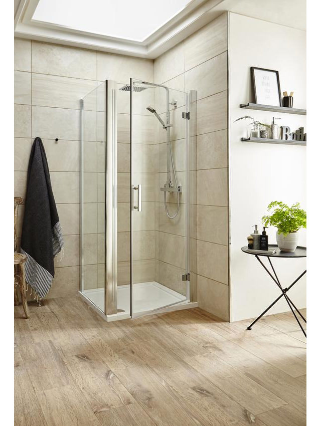 An image of Premier Pacific 760 X 760 Hinged Door Shower Enclosure With Tray