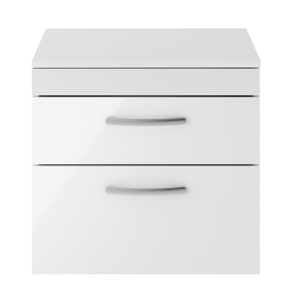 An image of Premier 605mm Wall Hung Vanity Unit In Gloss White   Worktop