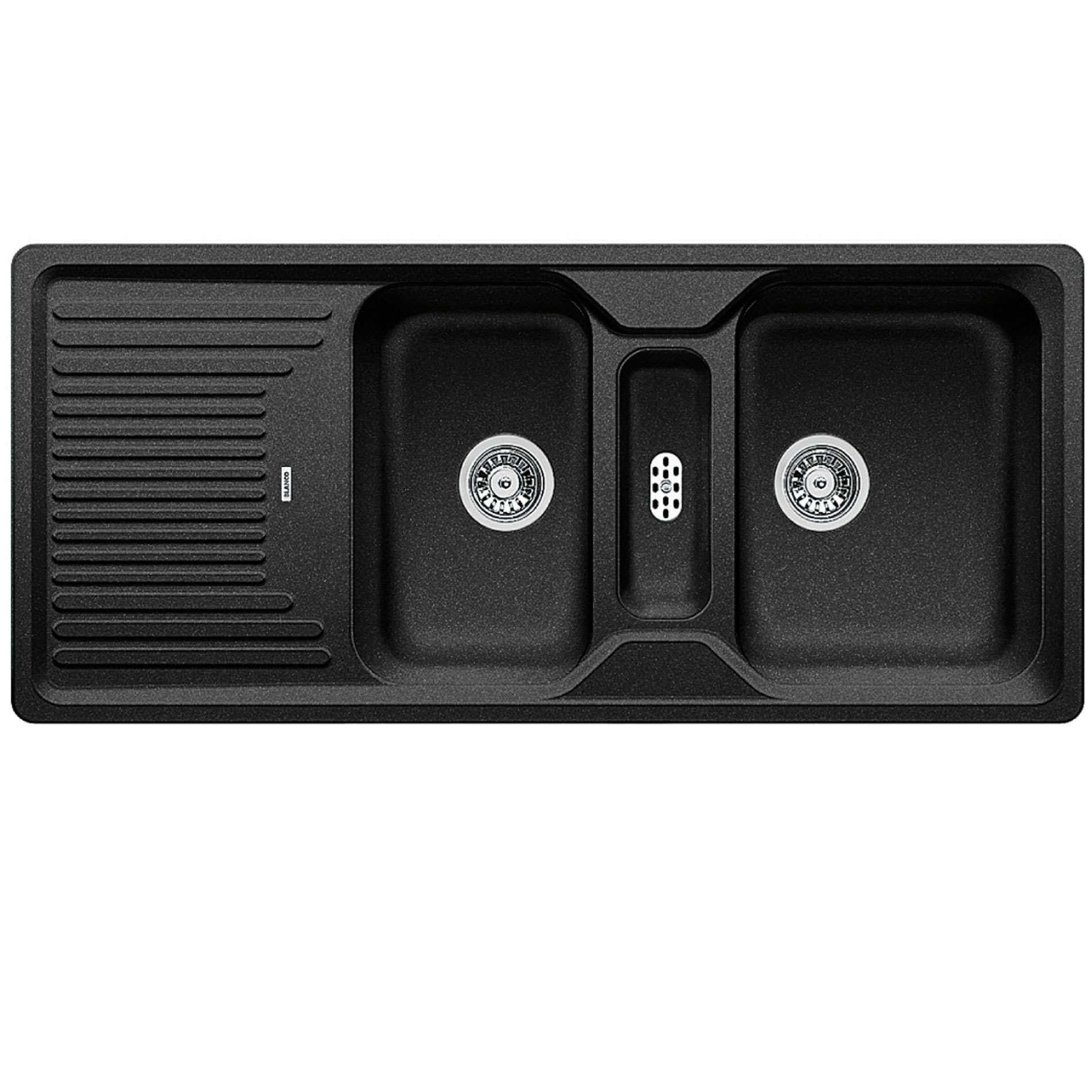 An image of Blanco Inset Silgranit Kitchen Sink CLASSIC 8 S ANTHRACITE