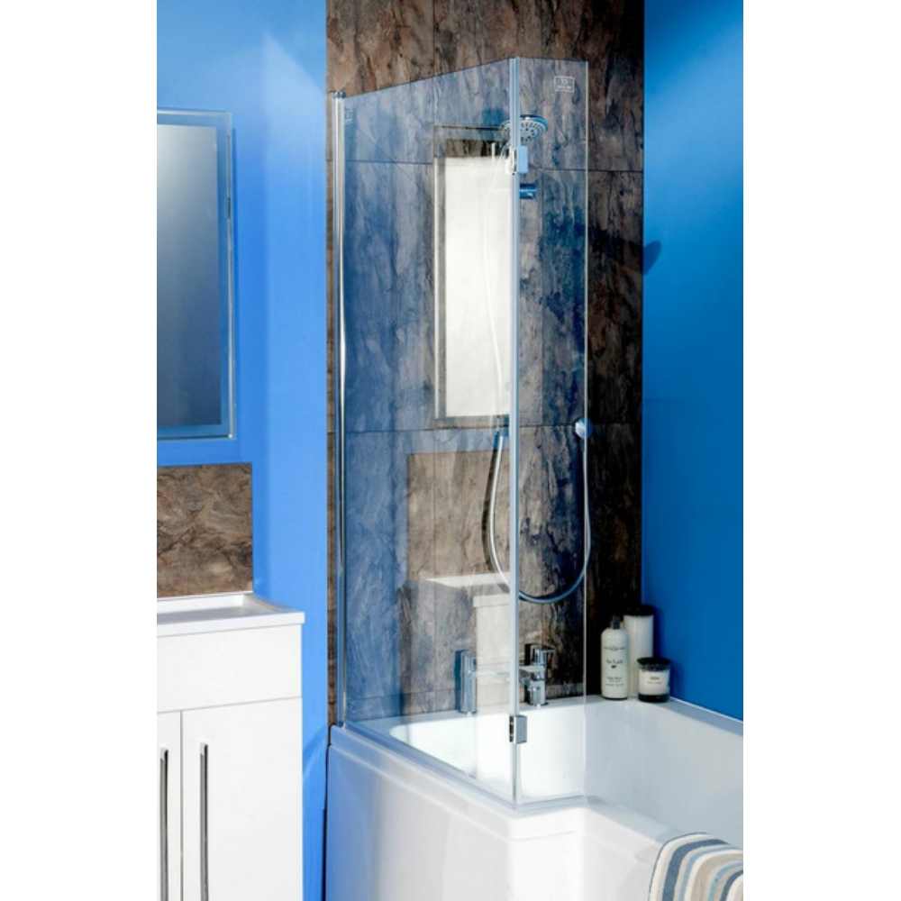 Cassellie Square 815mm Bath Screen With Flipper Panel