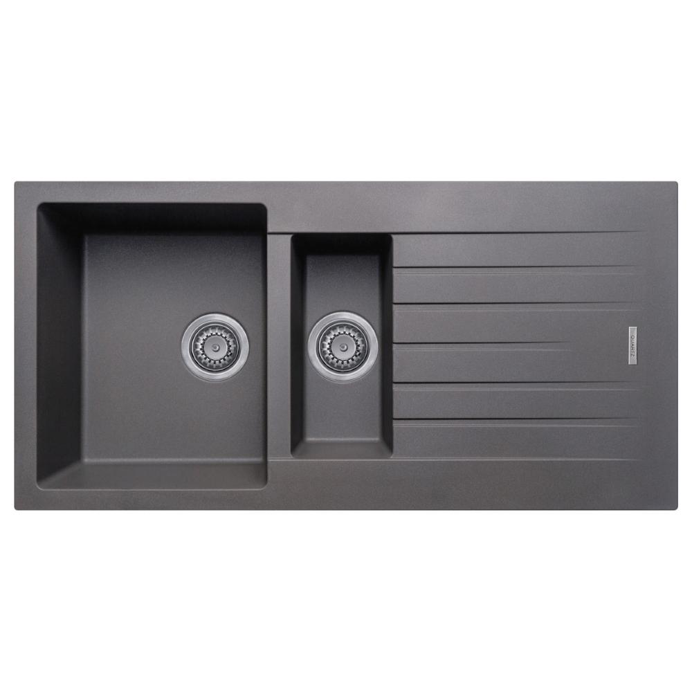 An image of Prima 1000x500 1.5Bowl Granite Inset  Rev Kitchen Sink Gun Metal