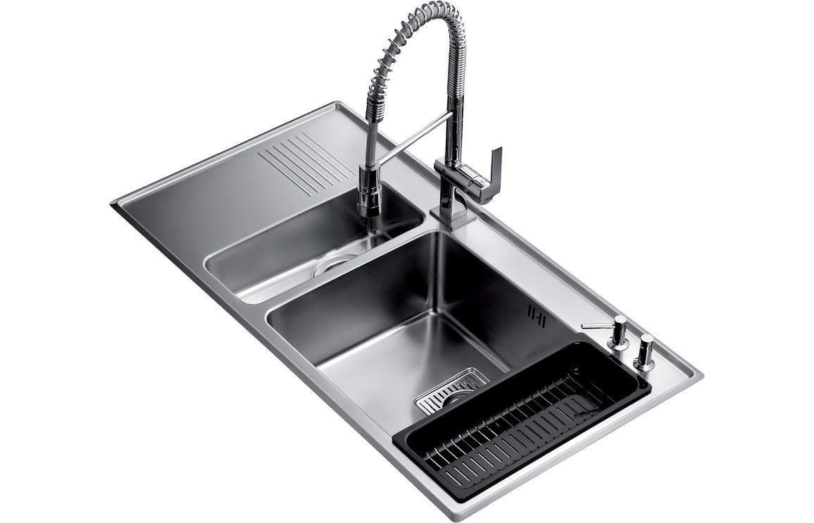Teka frame 1 5b and 0 5 drainer inset lh kitchen sink stainless steel