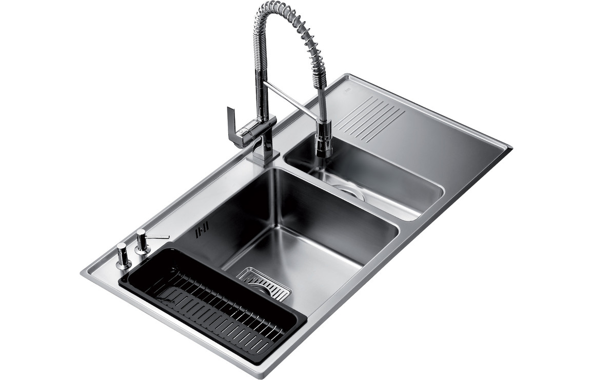 Teka frame 1 5b and 0 5 drainer inset rh kitchen sink stainless steel