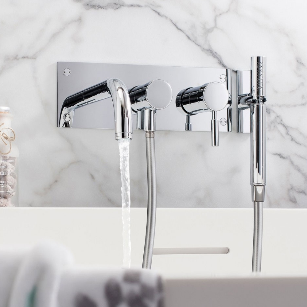 Crosswater Design Wall Mounted 3 Hole Set Bath Shower Mixer Tap with Kit