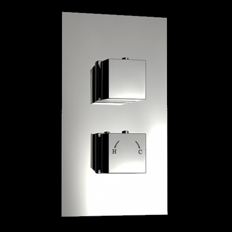 An image of 1 Way Square Handled Concealed Thermostatic Shower Mixer Valve