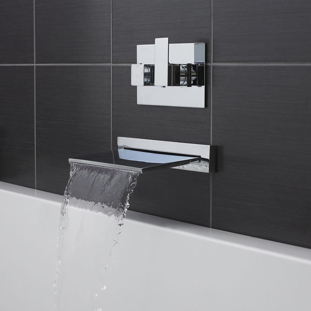 Slimline Waterfall Bath Filler With Concealed Thermostatic 1 Way Shower Valve 5055351494881 Ebay