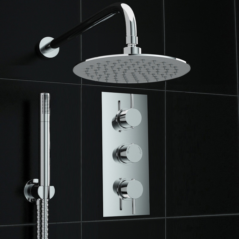 Concealed 2 way round wall mounted 200mm thermostatic for 200mm kitchen wall unit