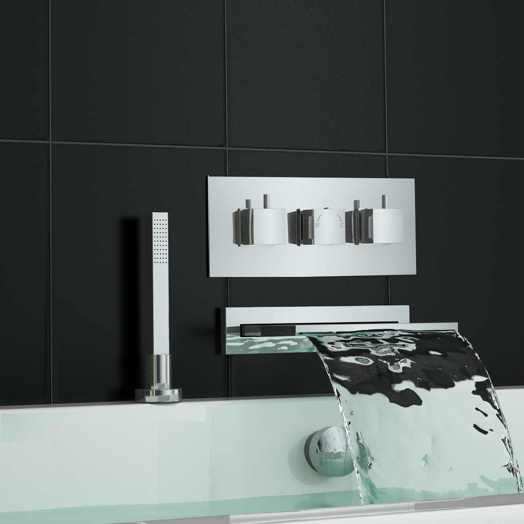 Concealed Thermostatic Shower Mixer Tap Waterfall Bath