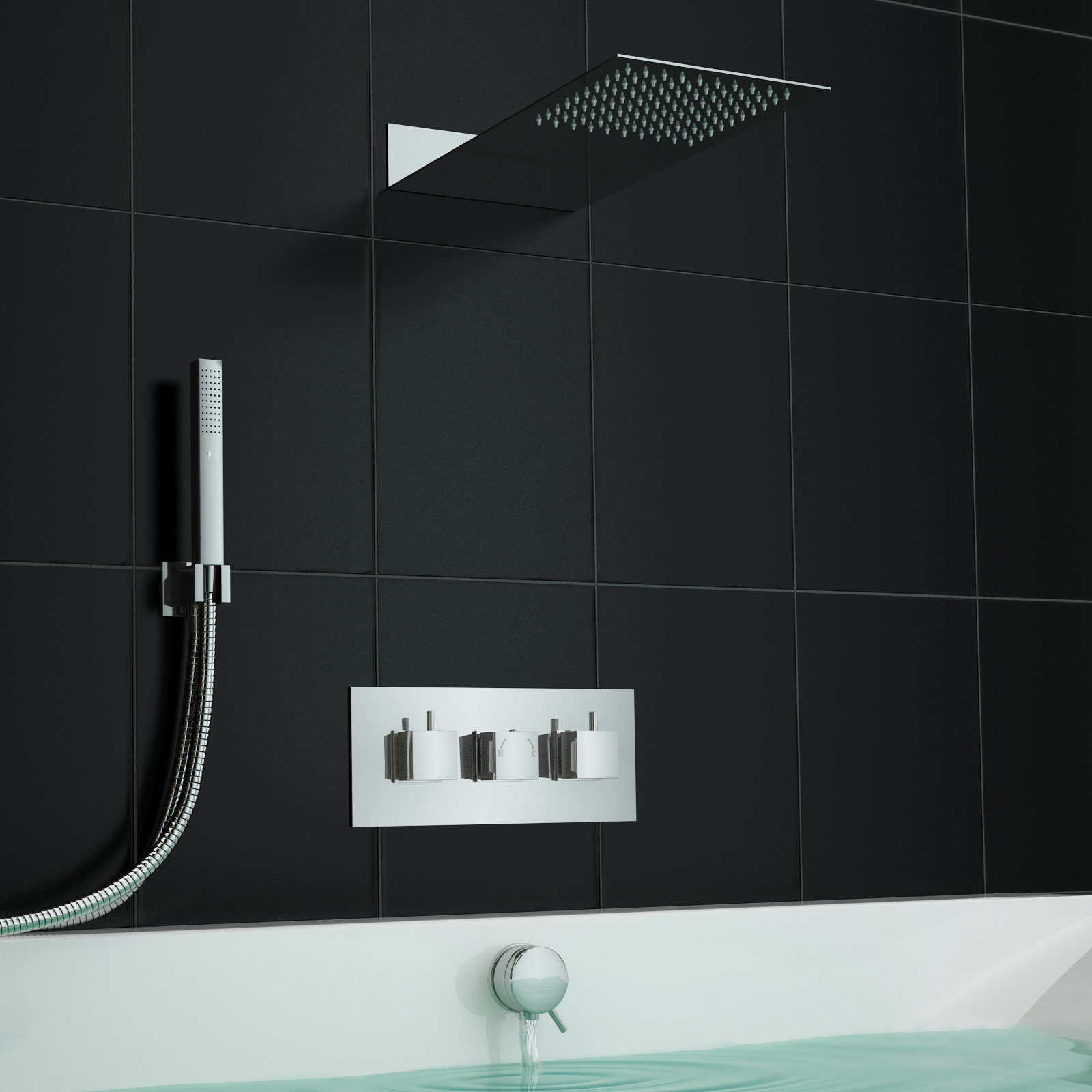 An image of Concealed Square Centrafill Thermostatic Mixer Bath Shower Slimline