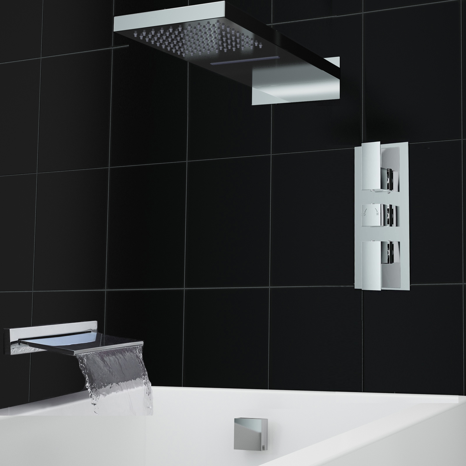 Concealed Waterfall Chrome Thermostatic 3 Way Bath Shower Mixer ...