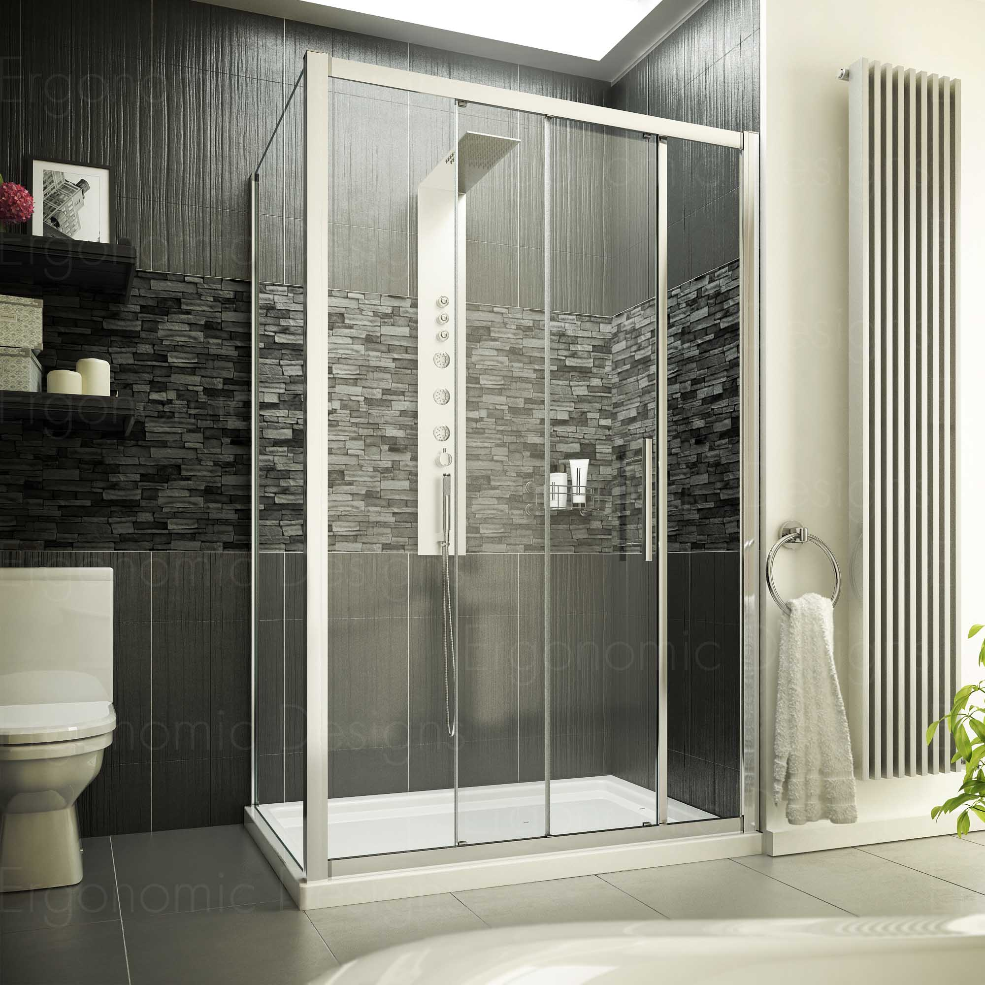 New 1200 x 700 Sliding Door Shower Enclosure Cubicle with 8mm Easy ...