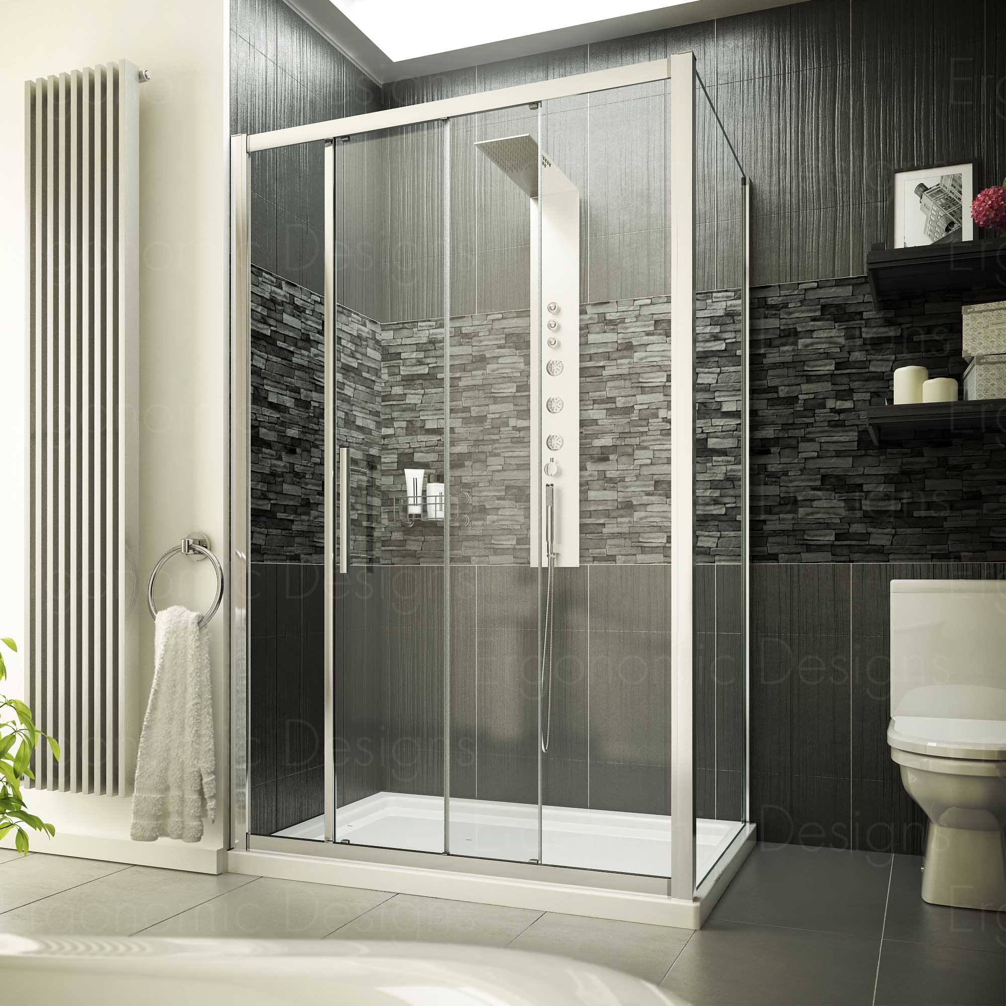 1200 x 760 Sliding Door Shower Enclosure 8mm Easy Clean Glass and ...
