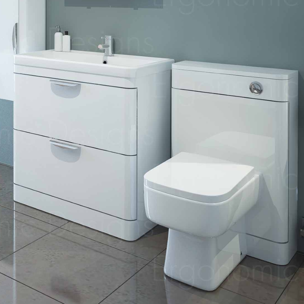 Sorentto Gloss White 800mm Basin and 500mm Toilet Unit WC Suite
