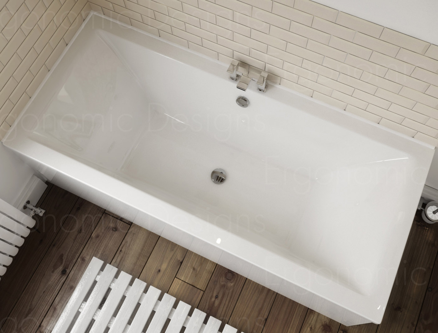 1700 X 700 Straight Standard Bath Bathroom Acrylic Square Double Ended White Ebay