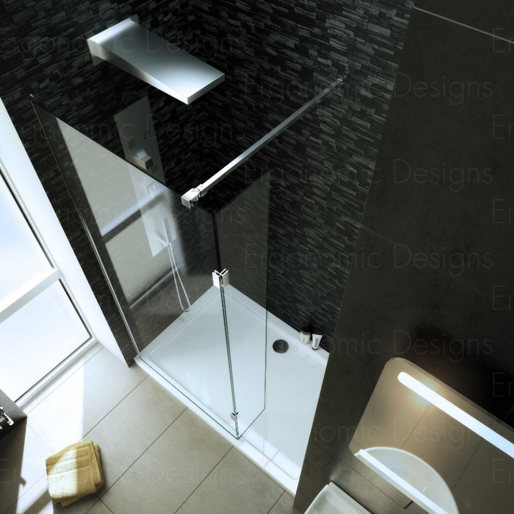 1400 x 900mm Walk In 8mm Wetroom Shower Enclosure Recess With Tray