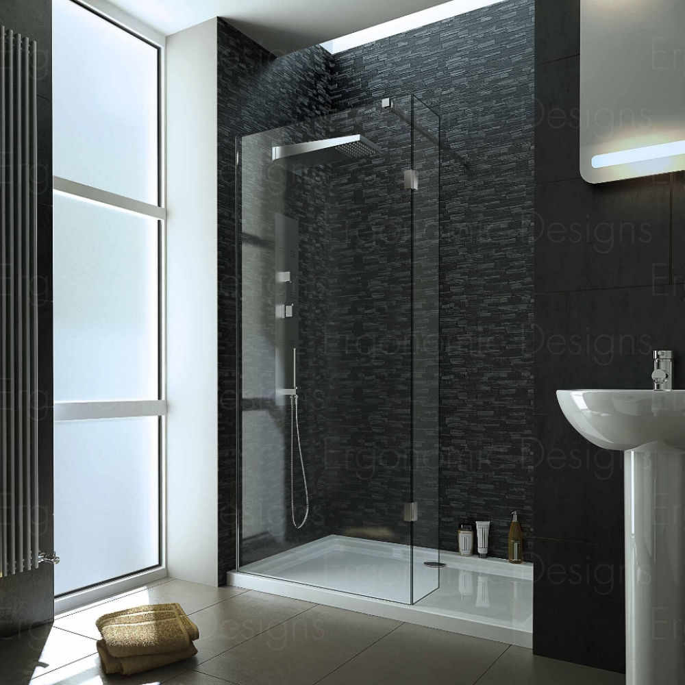 1600 x 800mm Walk In 8mm Wetroom Shower Enclosure Recess Screen With ...