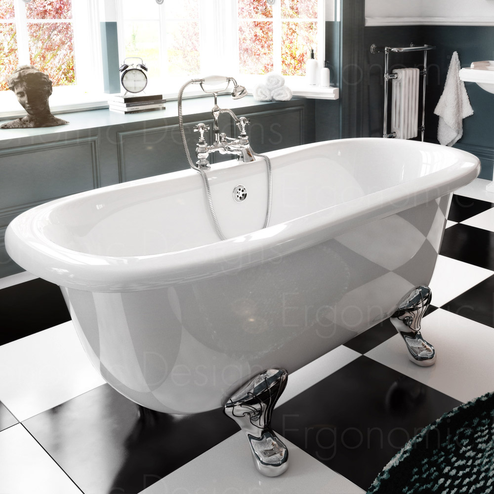 1700 x 745 Bathroom Traditional Freestanding Roll Top Double Ended ...