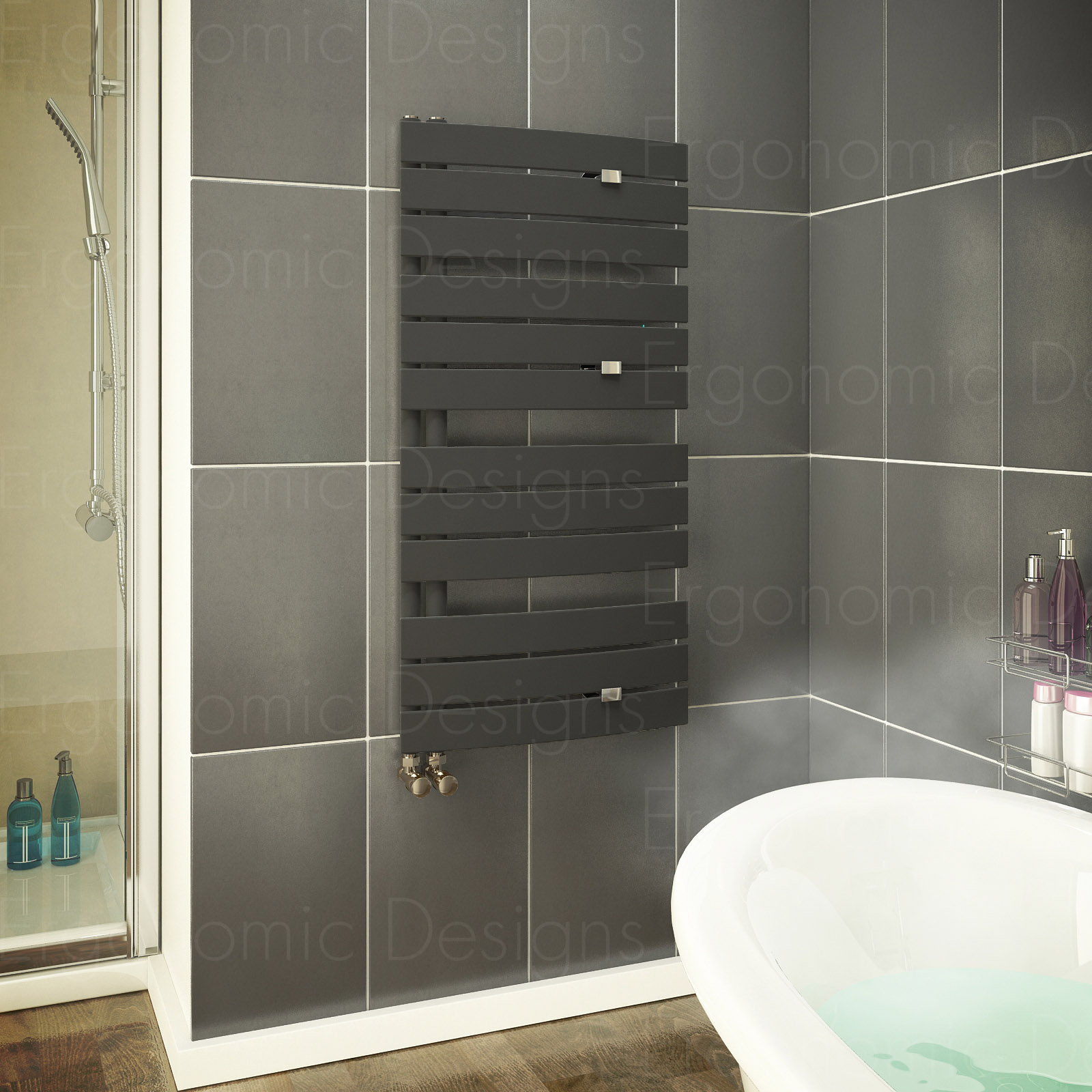 Anthracite 1080 X 550 Mm Flat Panel Bathroom Designer Towel Rail Radiator Ebay