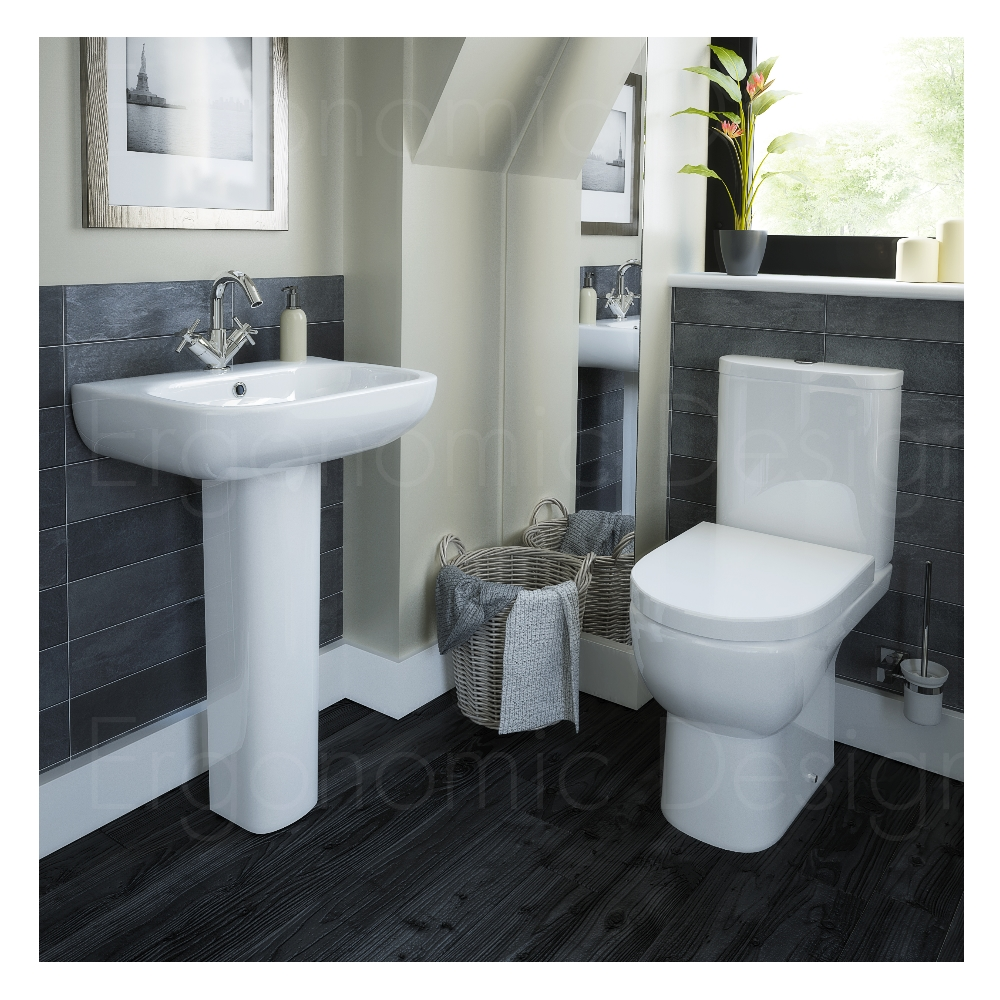 Contemporary wc toilet and pedestal basin 4 piece bathroom for 4 piece bathroom designs