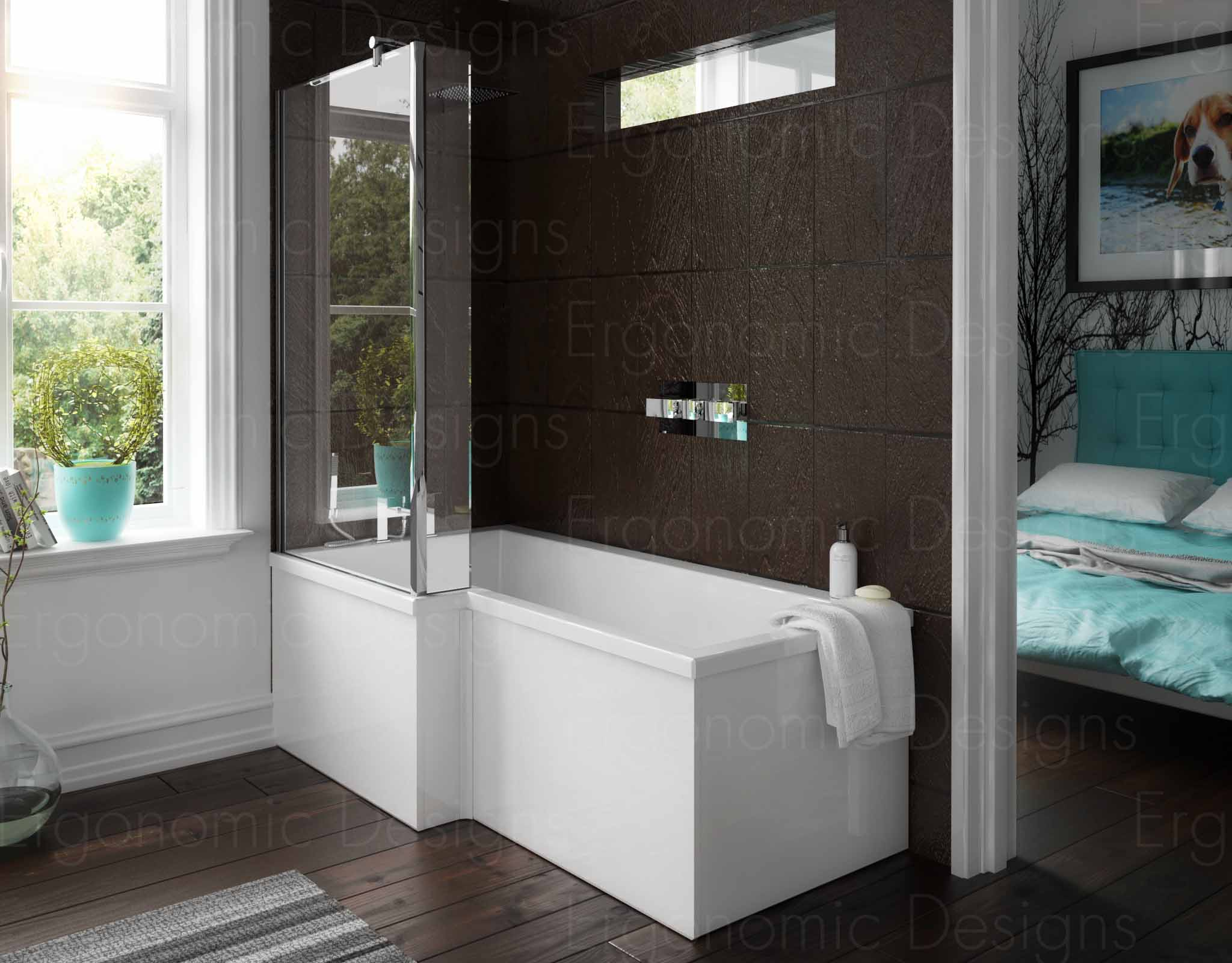 1500mm Left Hand Square Shower Bath L Shape Glass Screen and Panel ...