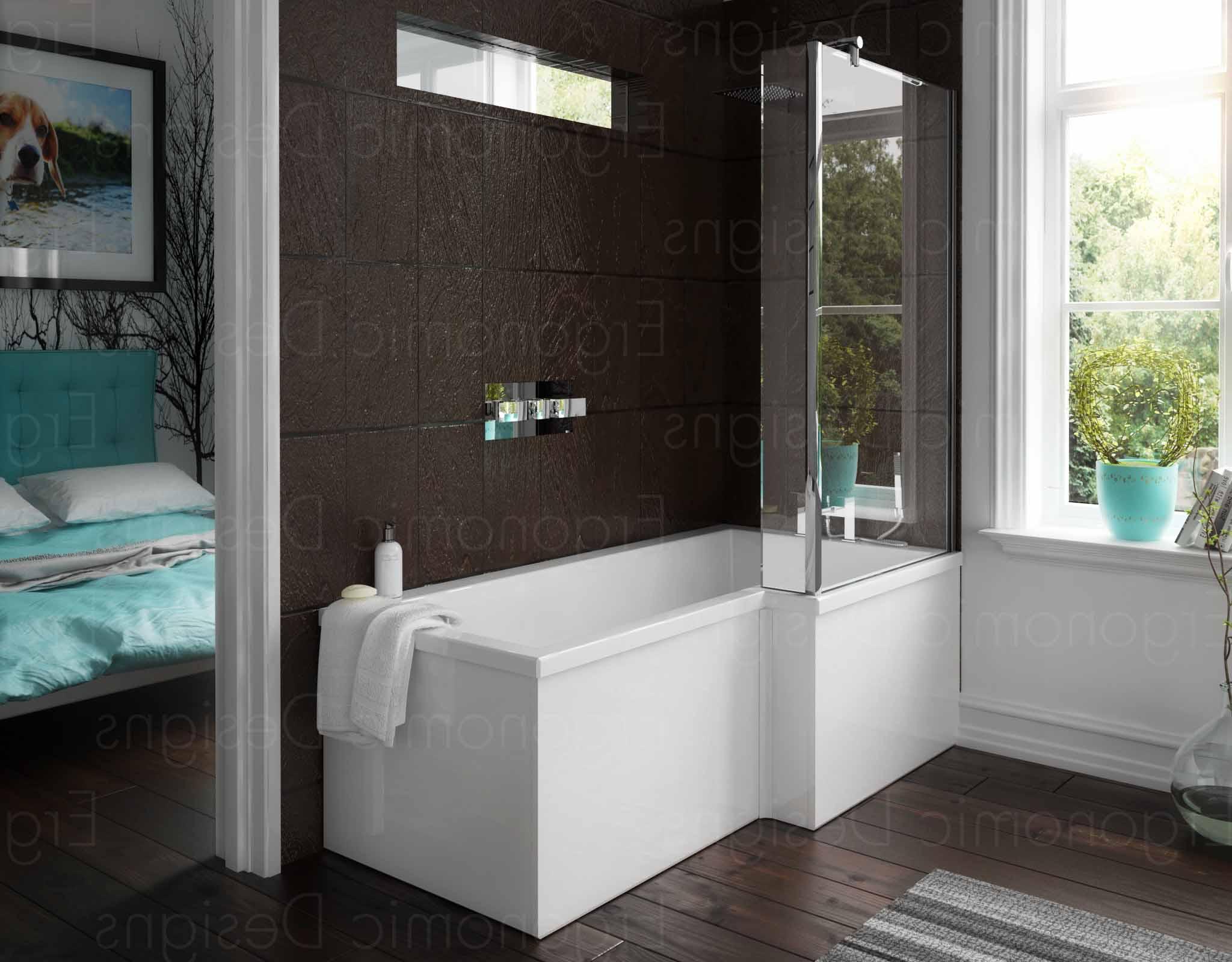 1500mm Right Hand L Shape Bathroom Square Shower Bath Glass Screen ...
