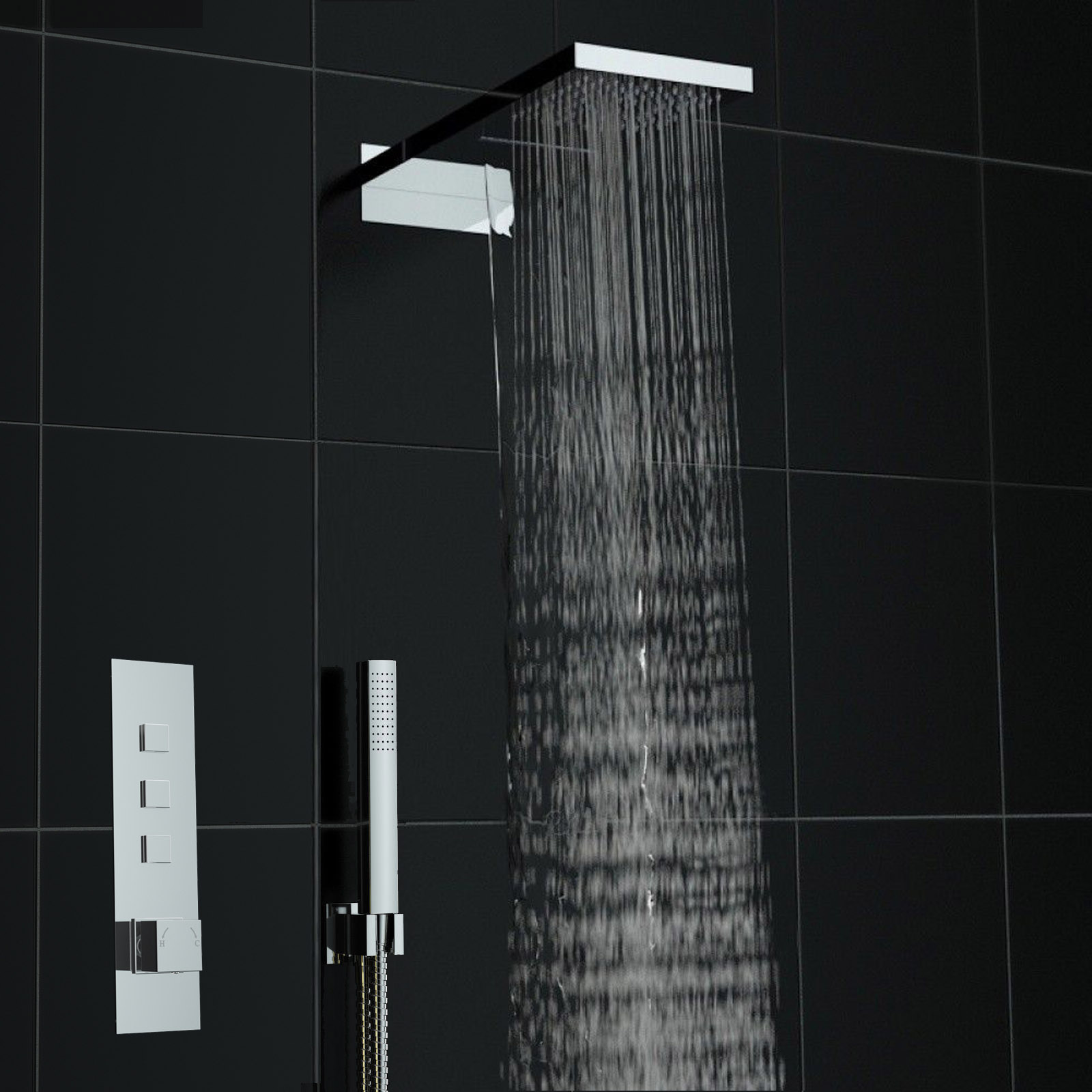 An image of Concealed Push Button 3 way Square Dual Waterfall Thermostatic Mixer Shower Kit