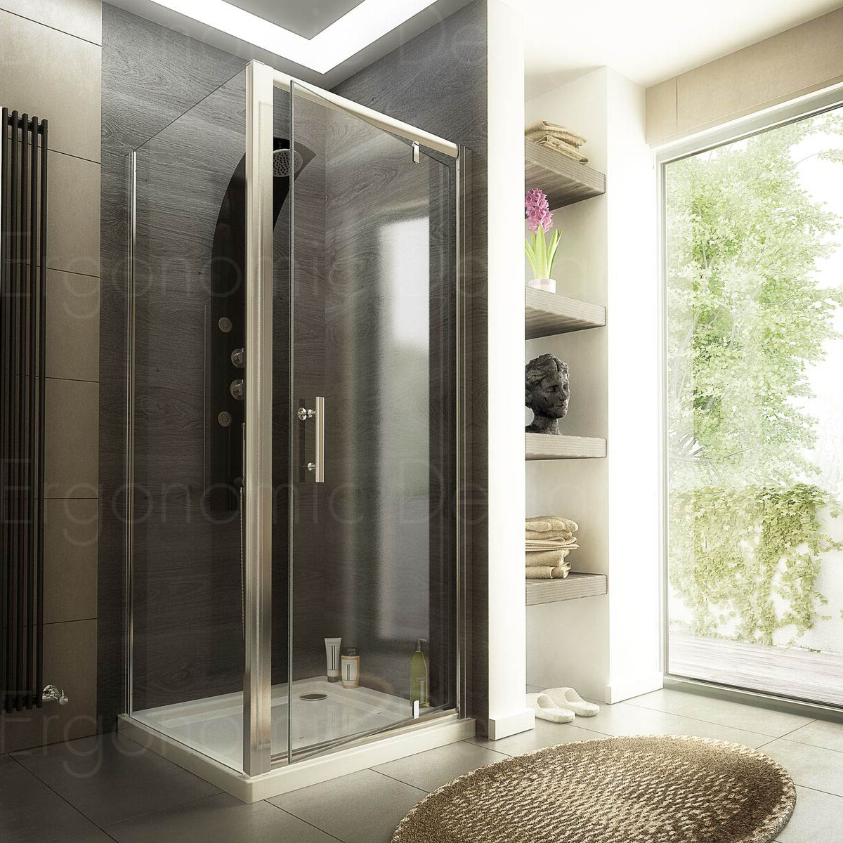 800 x 800 Pivot Door Glass Shower Enclosure with Stone Tray and Waste