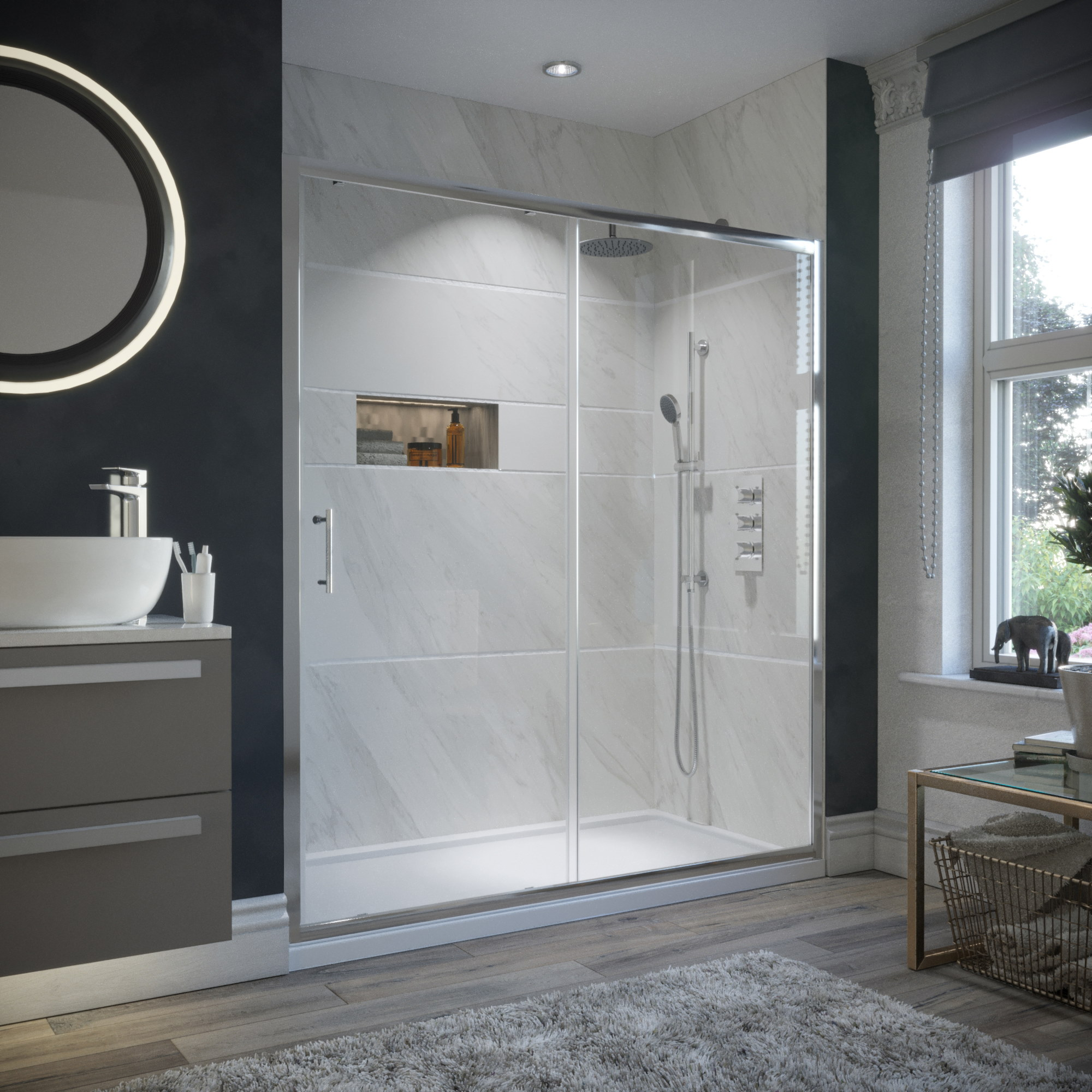 An image of HorizonEco 1500mm Framed Sliding Shower Door 6mm with Easy Clean