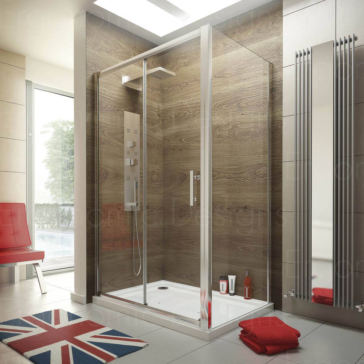 1200 x 760 Sliding Door Shower Enclosure Glass Cubicle with Stone ...