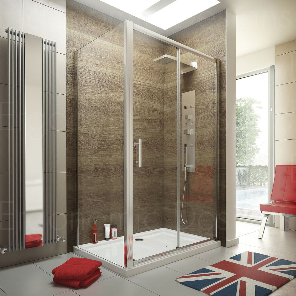1400 x 900 Sliding Door Shower Enclosure Glass Cubicle with Stone ...