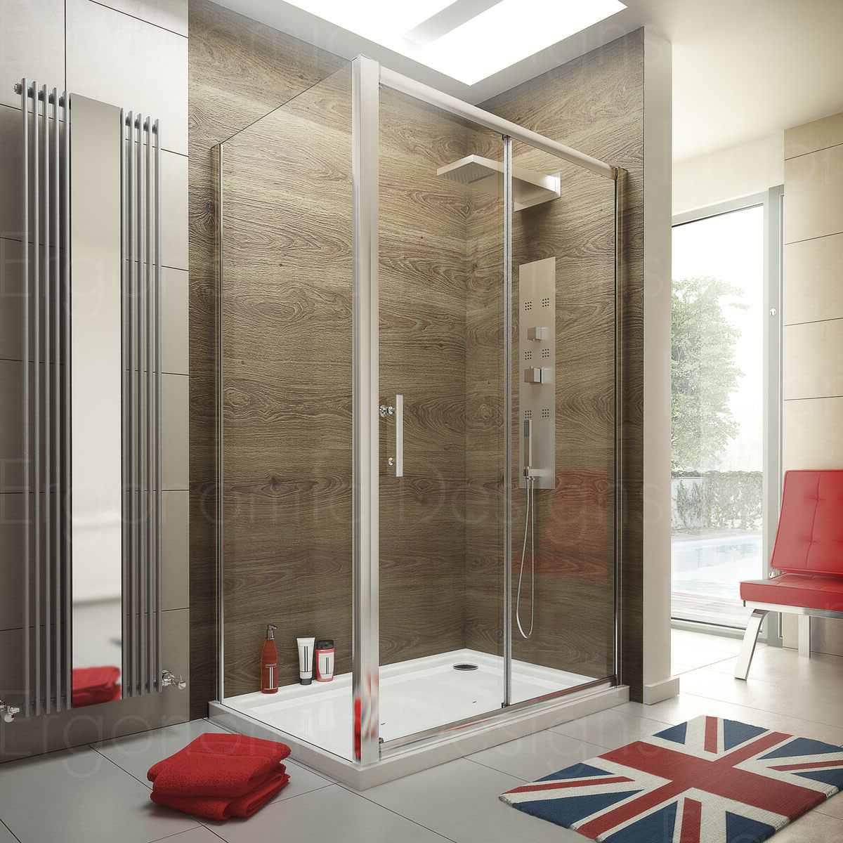 1600 x 700 Sliding Door Shower Enclosure Glass Cubicle with Stone ...