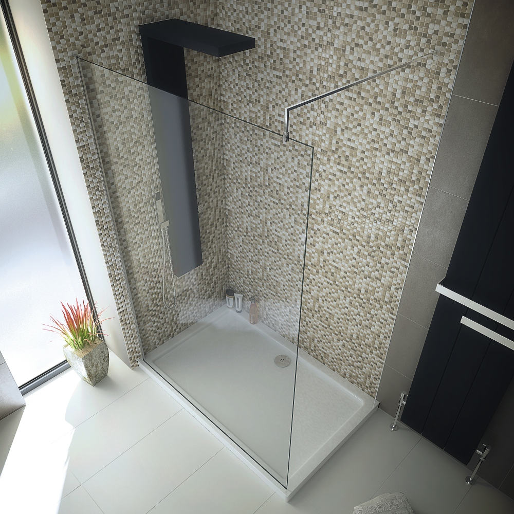 1400 x 800 Walk In 8mm Glass Wetroom Shower Cubicle with Tray and ...
