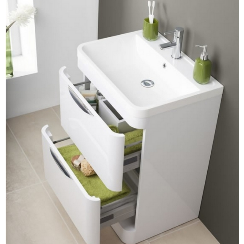 Free Standing Bathroom Vanities | Premier Parade 600mm Floor Standing Bathroom Vanity Unit And Basin
