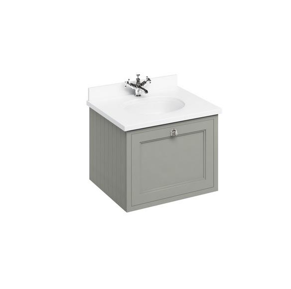 An image of Burlington 660mm Olive Traditional Vanity Unit   White Worktop