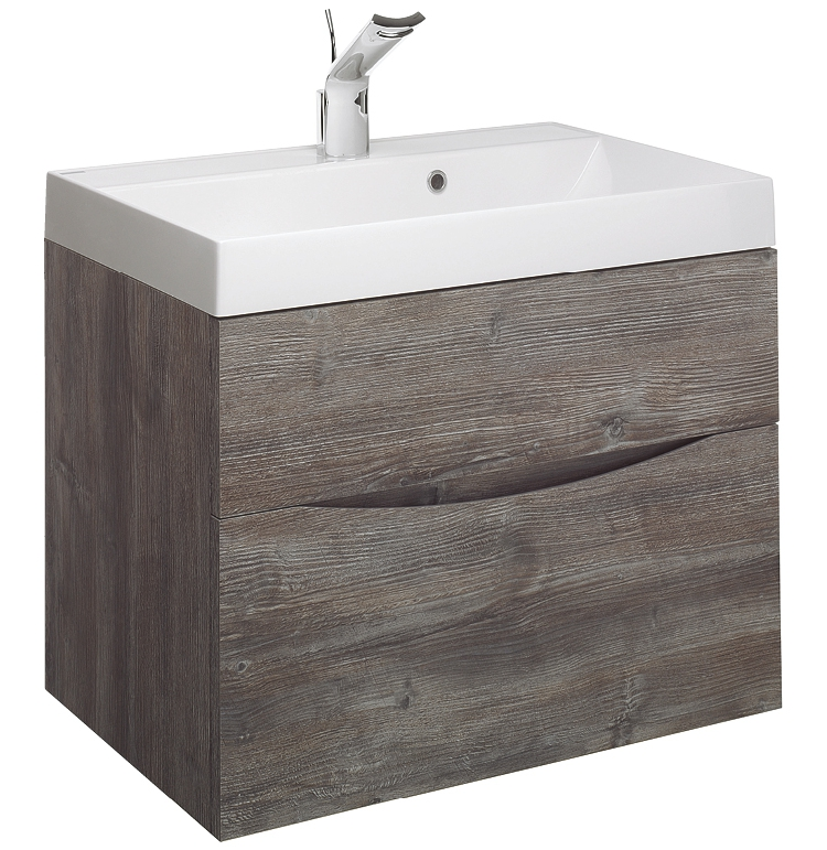 An image of Bauhaus Glide Ii 700mm Driftwood Wall Hung Double Drawer Vanity Unit