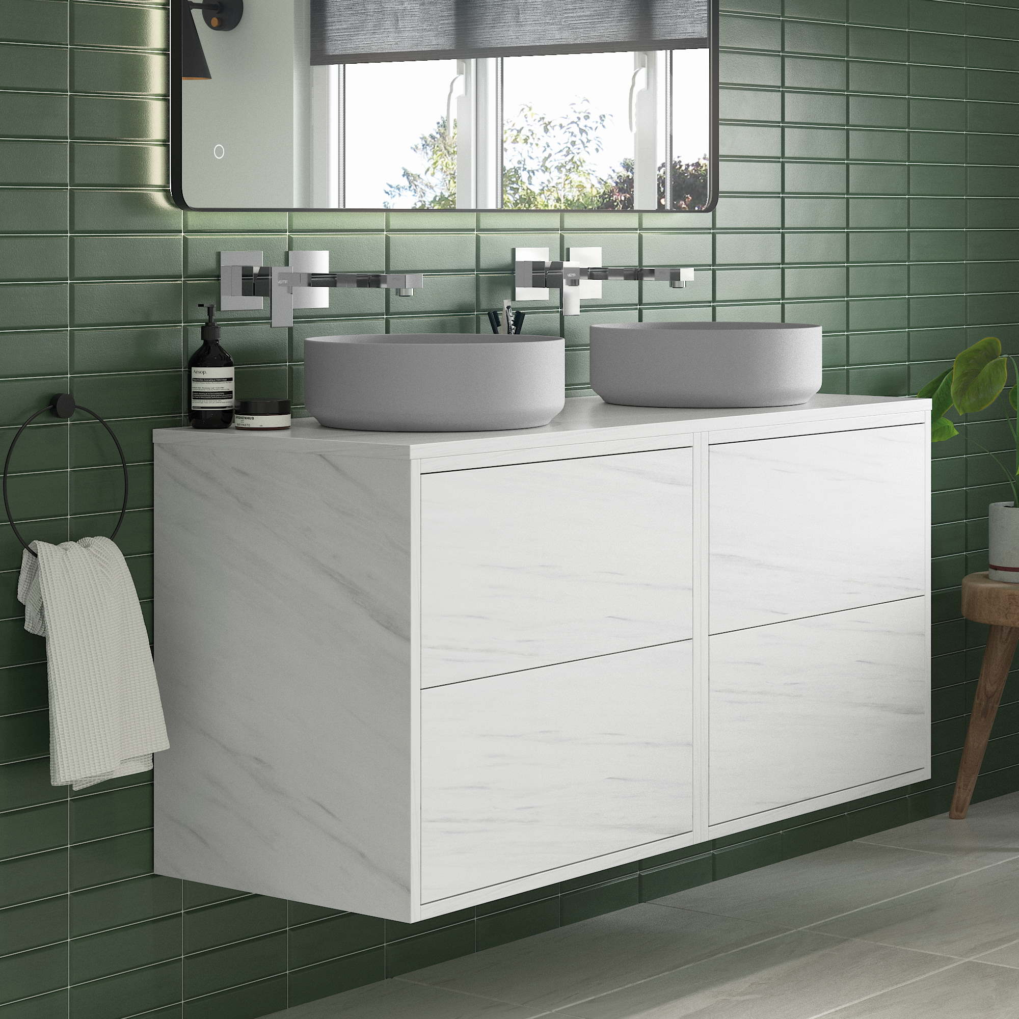 horizon baikal 1200mm wall hung vanity unit no top in marble