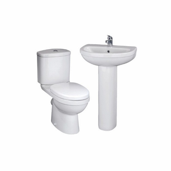 An image of Cassellie Close Coupled Pan, Cistern, Seat, Basin And Pedestal Suite