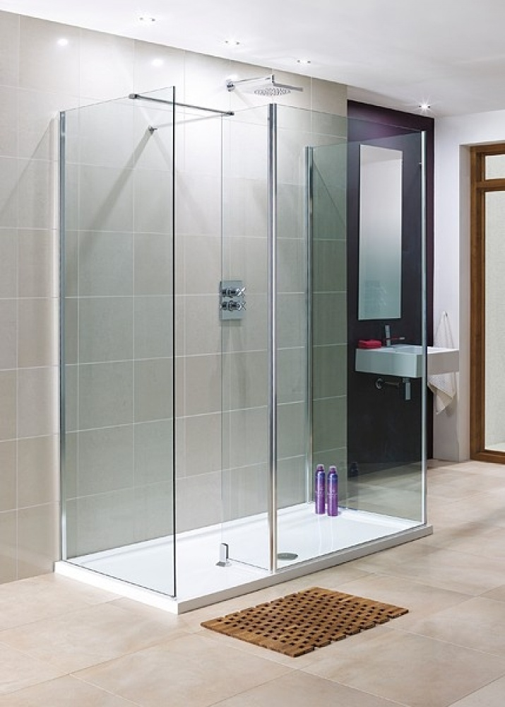 Lakes 1200x800 3 Panel WalkIn Shower Enclosure with Return and Stone ...