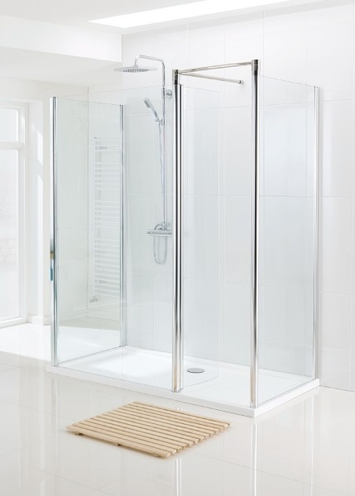 Lakes Classic Silver 1200 x 750 3 Sided Walk In Shower Enclosure and ...