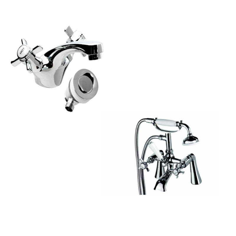 Traditional Chrome Deck Mounted Basin And Bath Shower Mixer