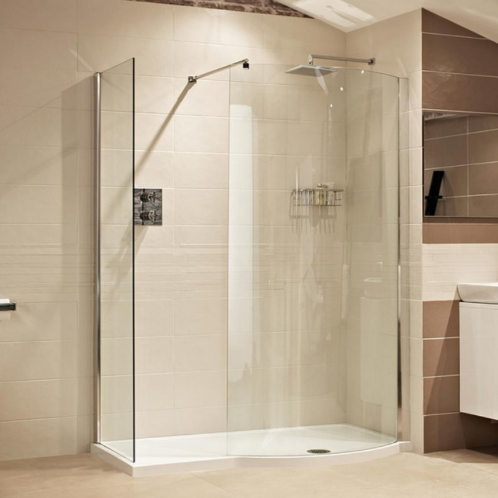 Roman Lumin8 Colossus 1450mm Curved Walk in Shower Enclosure with 1 ...