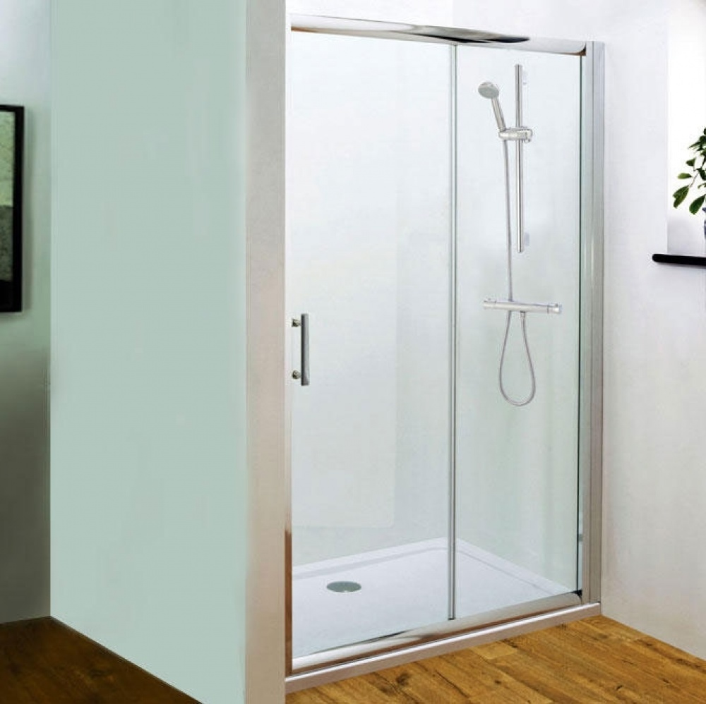 An image of Premier Pacific 1600mm Sliding Shower Door With Tray