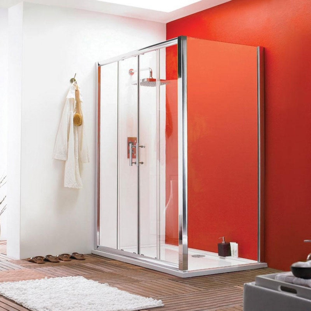 An image of Premier Pacific 1700mm Double Sliding Shower Door With Tray