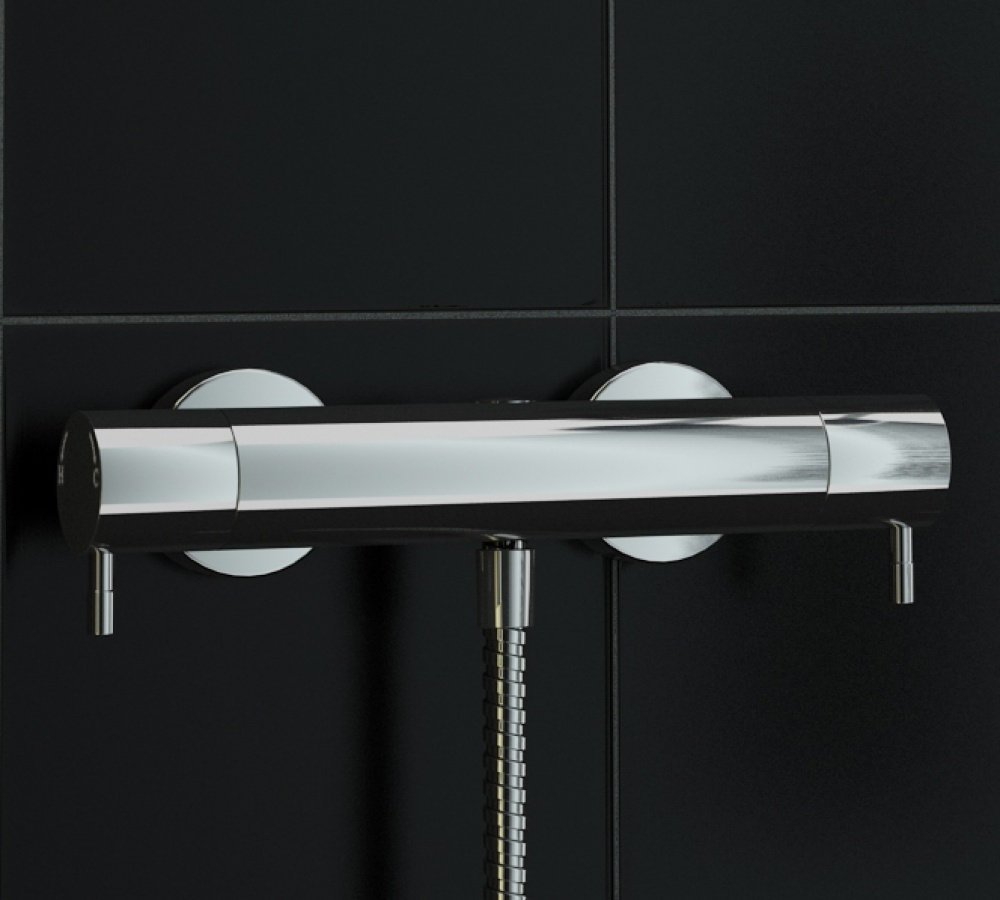 An image of 1 Way Exposed Round Metal Thermostatic Bar Mixer Shower Valve Tmv2